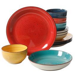 Color Speckle 12-Piece Casual Assorted Colors Stoneware Dinn