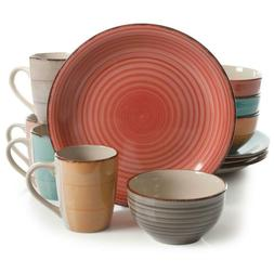 Color Vibes 12-Piece Casual Assorted Colors Stoneware Dinner