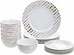 Colorful Polka Dots 18-Piece Classic Dinnerware Set Service