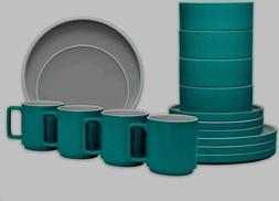 Noritake ColorTrio Stax 16-Piece Dinnerware Set in Turquoise