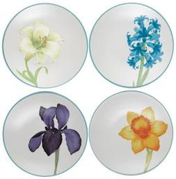 Noritake Colorwave Floral Appetizer Plates, Turquoise Blue,