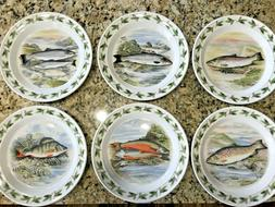 "Portmeirion Compleat Angler 10 1/2"" Dinner Plates UNUSED 6 S"
