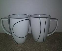 Corelle Coordinates Simple Lines Coffee Mug Black on White S