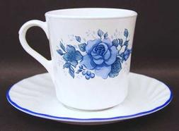 Corelle Coffee Cup & Saucer Blue Velvet Pattern 3 1/2 Inches