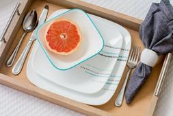 Corelle Square Rain Drops 16-Piece Dinnerware Set