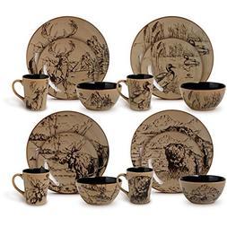 16-Piece Country Style Assorted Round Dinnerware Set, Black/