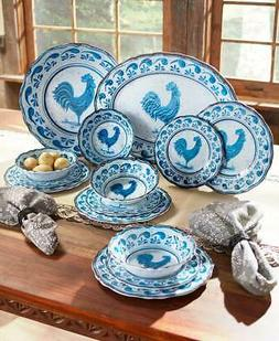Country Blue Farmhouse Rooster Melamine Dinnerware Dishes Pl