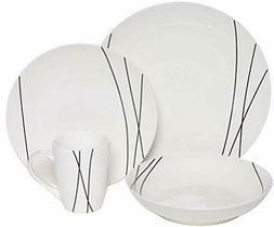 Melange Coupe 32 Piece Porcelain Dinner Set  Black Lines | S