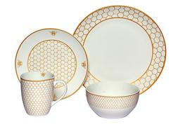 Melange Coupe 16-Piece Porcelain Dinnerware Set  | Service f