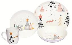 Melange Coupe 16-Piece Porcelain Dinnerware Set    Service f