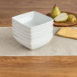 "Set of 6 Coupe Square Bowls 6.25"" x 2.5"", White"
