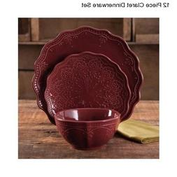 The Pioneer Woman Cowgirl Lace 12-Piece Dinnerware Set, Plum