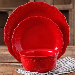 The Pioneer Woman Cowgirl Lace Red 12-Piece Dinnerware Set,