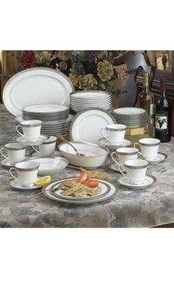 Noritake Crestwood Platinum 50 pc Dinnerware Set +FREE Prote