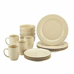 Rachael Ray Cucina Dinnerware 16 Piece Stoneware Set, Almond