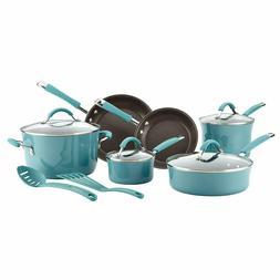 Rachael Ray Cucina Hard Enamel Nonstick Cookware Set, 12Piec