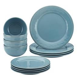 Rachael Ray Cucina 12-Piece Stoneware Dinnerware Set, Agave
