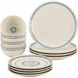 Rachael Ray Cucina Sun Daisy 12-Piece Stoneware Dinnerware S