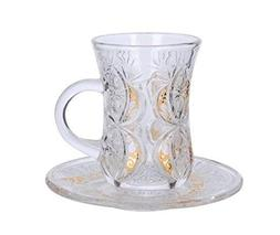 Cup & Saucer Set Turkish Tea Coffee Glass Gold Color Design
