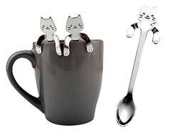 Longay 1 PCS Cute Cat Spoon Long Handle Spoon Tea Spoon Ice
