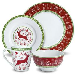 Pfaltzgraff 32-Piece Dancing Deer Holiday Dinnerware Set Ser