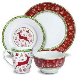 Pfaltzgraff 32-Piece Dancing Deer Holiday Dinnerware Set Ser