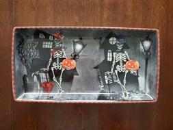 222 Fifth Dapper Skeleton Halloween Serving Platter / Candy