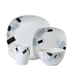 Dean 16 Piece Dinnerware Set - Porcelain, Geo Pattern, Chip