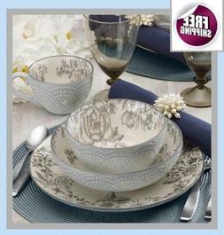 Deluxe Set Dinnerware 16 Pcs Dishes Plate Mug Vintage Classi