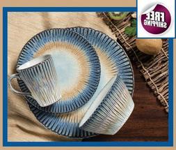 Deluxe Set Dinnerware 16 Pcs Dishes Plate Mug Vintage Modern