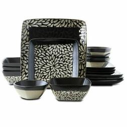 Elama's Desert Bloom 16 Piece Stoneware Dinnerware Set