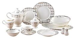 EURO Porcelain 57-Piece Large Dinner Banquet Set, 24K Gold-P