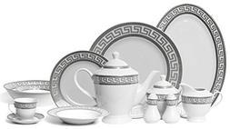 EURO Porcelain 57-Piece Large Dinner Banquet Set, Silver/Pla