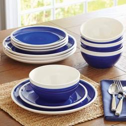 Dinnerware Set 12 Pc Dinner Salad Plates Bowls Mug Blue Whit