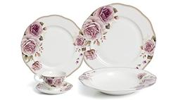 EURO Porcelain 20-pc. Dinner Set Service for 4, 24K Gold-pla