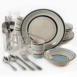 32-Piece Dinnerware Combo Set, Cannon Blue