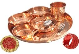 Prisha India Craft Best Dinnerware Pure Copper Thali Set Dia