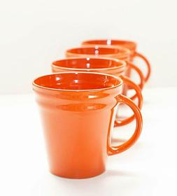 Rachael Ray Dinnerware Double Ridge Mug Set, 4-Piece, Orange