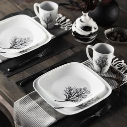 Corelle Square Timber Shadows 16-Piece Dinnerware Set