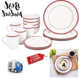 Dinnerware Round Set 16 Piece Cafe Stripe Design Plates Bowl