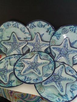 Dinnerware Service for 6 Plus Serving Platter in an Ocean Th