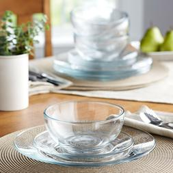 Dinnerware Set 12 Pcs Modern Round Thick Clear Glass Dinner