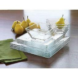 12-Piece Square Clear Glass Dinnerware Dining Set, Dinner Me