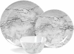 Dinnerware Set 12 Piece Melamine Marble Pattern Home Kitchen