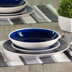 DINNERWARE SET 12-Piece Service for 4 Round Blue White Swirl