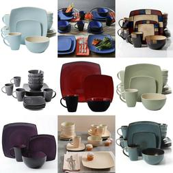 Dinnerware Set 16 Piece Dinner Ware Square Sets Kitchen Plat