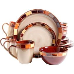 Dinnerware Set 16-Piece Glazed Stoneware Multi-Colored Plate