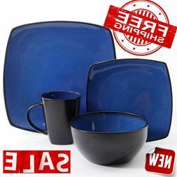 DINNERWARE SET 16-Piece Plates Bowls Mugs Dishes Stoneware S