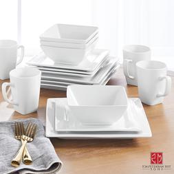 Dinnerware Set 16 Piece Plates Bowls Mugs Square White Porce