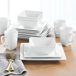 Dinnerware Set 16 Piece Plates Bowls Mugs Square White Porce